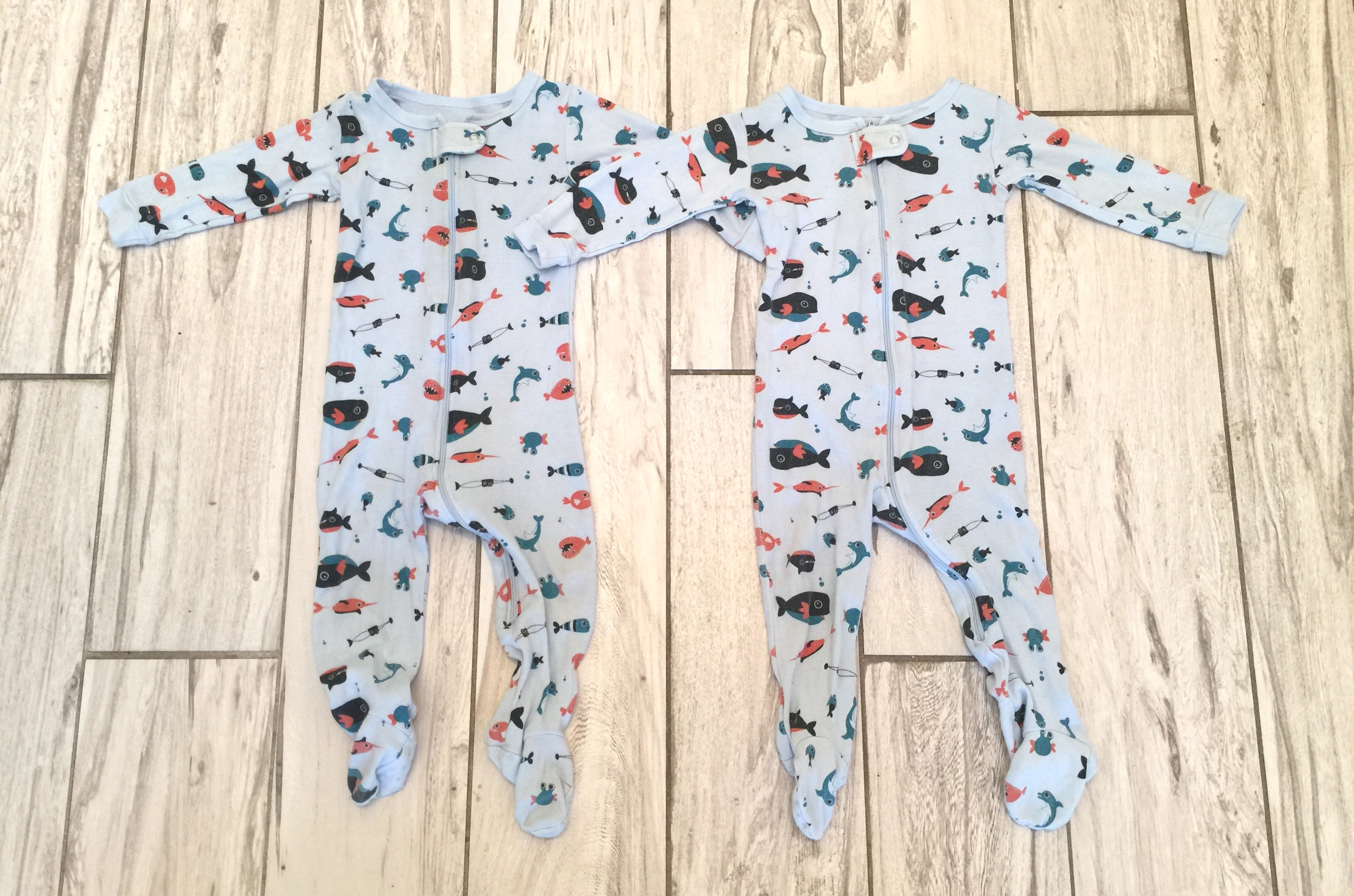 1e6fab660 Leveret brand 9-12 month Matching Fish Footie PJs - Twin Baby Bargains