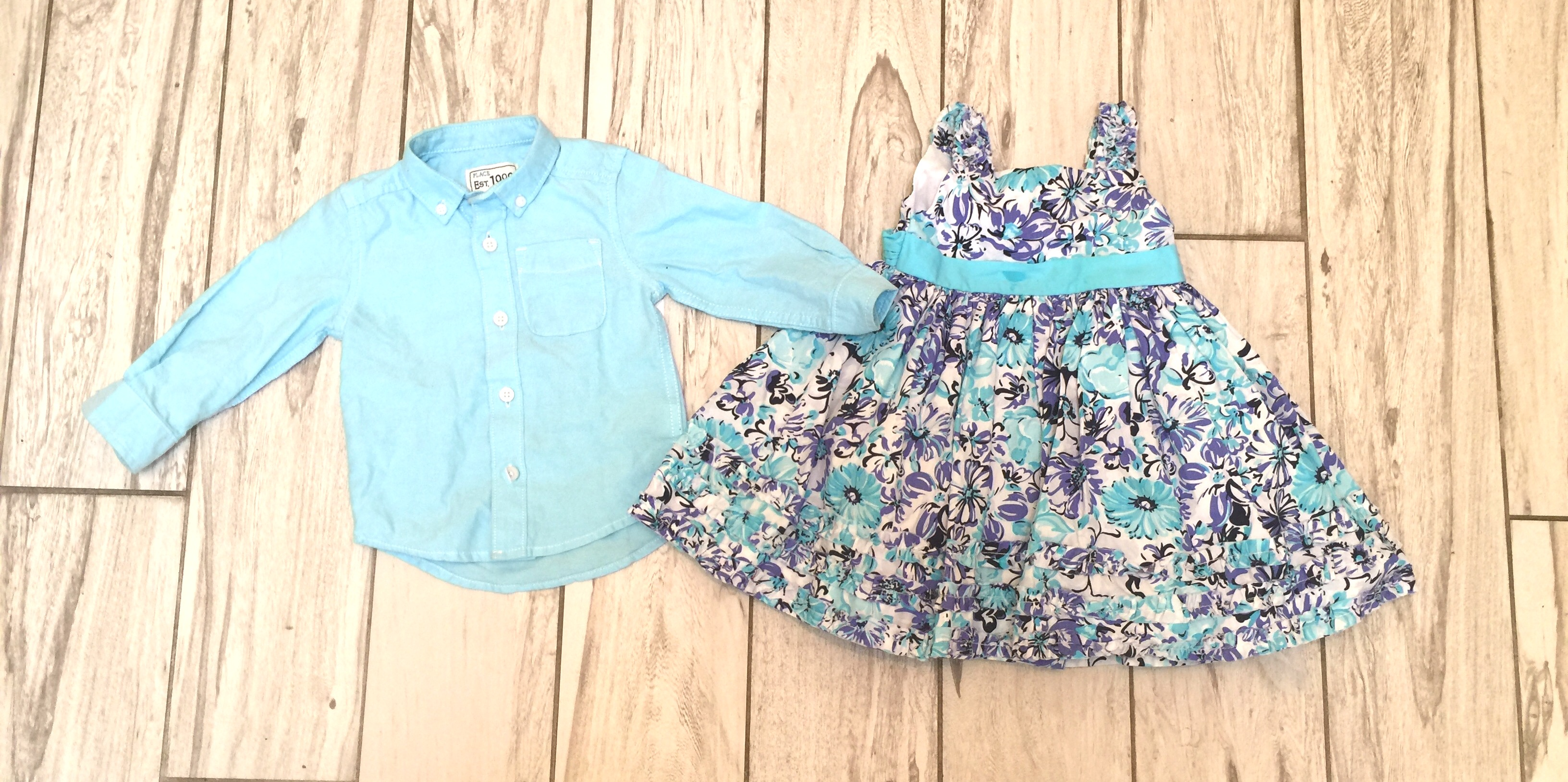 Boy Girl Floral Dress And Button Down Twin Baby Bargains