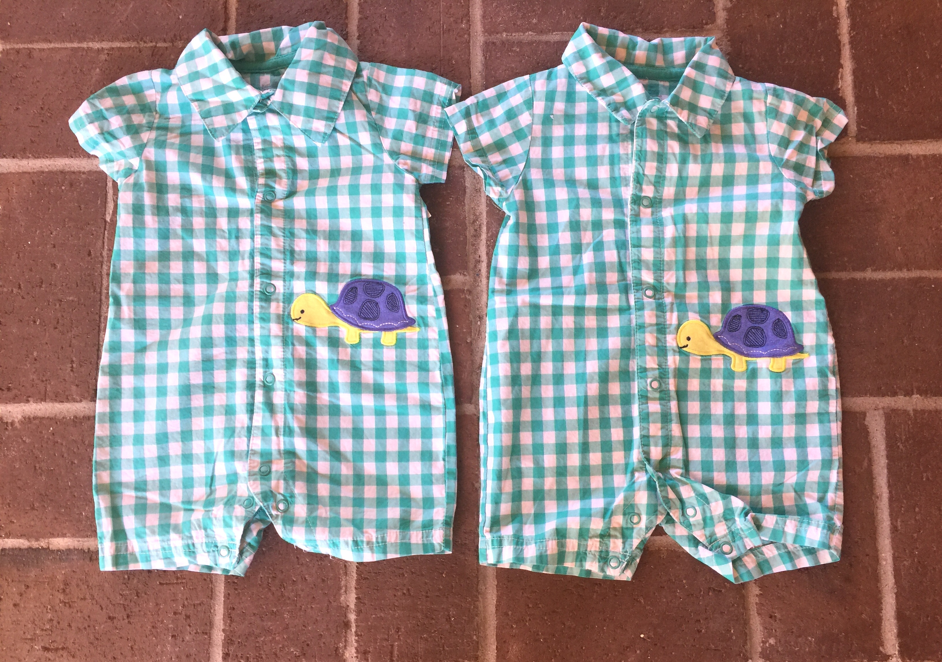 Turquoise Turtle Rompers Twin Baby Bargains
