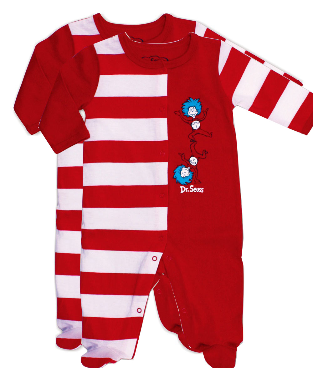 Dr Seuss Thing 1 & Thing 2 Footed Sleepers Set of Two