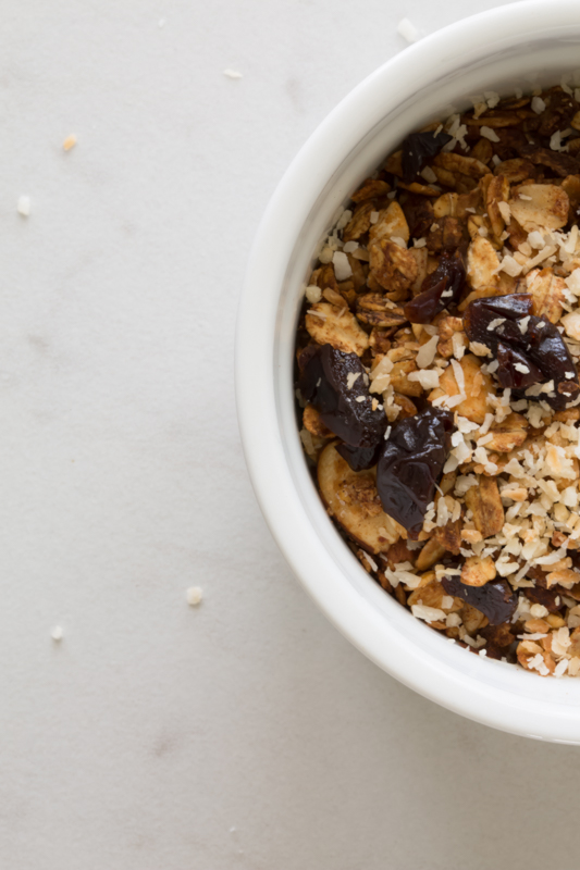 homemade granola in a white bowl